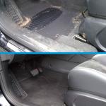 Der Fußraum eines Fahrzeuges vor und nach der Reinigung