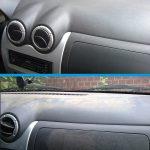 Die Armatur eines Fahrzeuges vor und nach der Reinigung